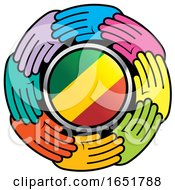 Circle Of Colorful Hands Around A Congo Flag by Lal Perera