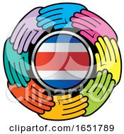 Circle Of Colorful Hands Around A Costa Rican Flag by Lal Perera