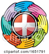 Circle Of Colorful Hands Around A Denmark Flag