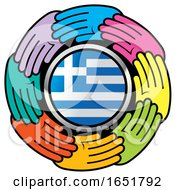 Circle Of Colorful Hands Around A Greek Flag