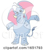 Cartoon Happy Elephant With Open Arms