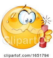 Poster, Art Print Of Cartoon Yellow Smiley Emoji Holding A Stick Of Dynamite