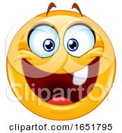 06/01/2019 - Cartoon Yellow Smiley Emoji With One Tooth