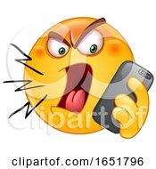 Poster, Art Print Of Cartoon Yellow Smiley Emoji Screaming At A Cell Phone