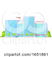 Helicopter Over A Hospital Building