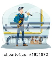Happy Plumber At Work by Vector Tradition SM