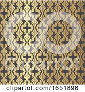 Decorative Damask Style Pattern Background In Gold And Black