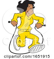 Cartoon Black Woman Jumping Rope