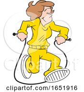 Cartoon White Woman Jumping Rope