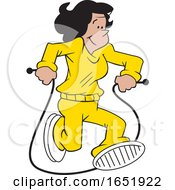 Cartoon Hispanic Woman Jumping Rope