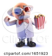 Crazy Mad Scientist Watching A Movie With 3d Glasses And Popcorn