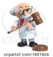 Mad Professor Scientist Holding An Auctioneers Gavel by Steve Young