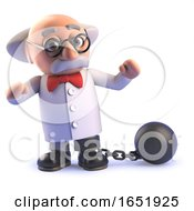 Crazy Mad Scientist Wearing A Ball And Chain by Steve Young