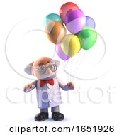 Crazy Mad Scientist Professor Holding Some Colorful Balloons by Steve Young