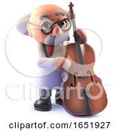 Cartoon Mad Scientist Professor Playing A Double Bass Guitar by Steve Young