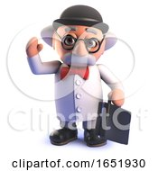 Mad Scientist Professor Character Wearing A Bowler Hat And Holding A Briefcase by Steve Young