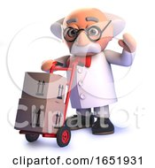 Crazy Mad Scientist Professor Delivering Parcels With Hand Cart by Steve Young