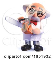 Mad Scientist Character Holding A Chainsaw by Steve Young