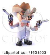 Mad Scientist Cartoon Professor Wearing A Cowboy Stetson Hat And Holding Pistols by Steve Young