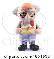 Cartoon Mad Scientist Holding A Gold Bullion Ingot