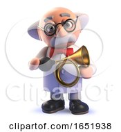 Mad Scientist Character Holding A Brass Car Horn by Steve Young