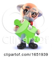 Cartoon 3d Mad Scientist Character Holding A Piece Of A Jigsaw Puzzle by Steve Young