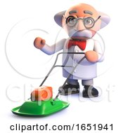Poster, Art Print Of Cartoon 3d Mad Scientist Character Using A Hover Lawn Mower