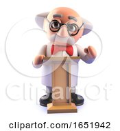 Mad Scientist Character Speaking At A Lectern by Steve Young