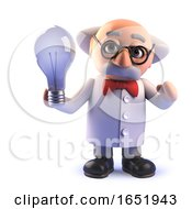 Poster, Art Print Of Cartoon Mad Scientist Character Holding A Lightbulb