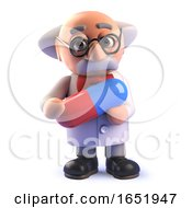 Cartoon 3d Mad Scientist Character Holding A Drug Capsule Pill by Steve Young