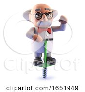 Cartoon 3d Mad Scientist Character Bouncing On A Pogo Stick