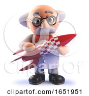 Cartoon Crazy Mad Scientist Character Holding A Retro Spaceship Rocket by Steve Young