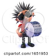 Punk Rocker 3d Character Banging A Big Bass Drum by Steve Young