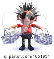 Punk Rocker Holding Shopping Baskets In 3d by Steve Young