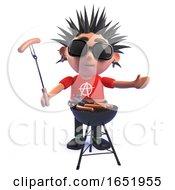 Cartoon Punk Rocker Character In 3d Cooking A Bbq Barbecue by Steve Young