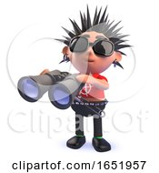 Cartoon Punk Rocker Character Using A Pair Of Binoculars In 3d by Steve Young