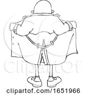 Cartoon Black And White Flasher Man From Behind