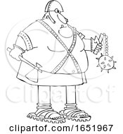 Cartoon Black And White Chubby Executioner Holding An Axe And Flail