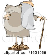 Cartoon Father Time Holding His Back And Walking With A Cane