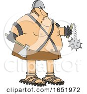 Cartoon Chubby Executioner Holding An Axe And Flail