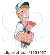 Poster, Art Print Of Plumber Cartoon Plumbing Drain Plunger Handyman