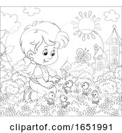 Poster, Art Print Of Black And White Girl Playing With Chicks