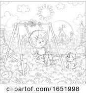 Poster, Art Print Of Black And White Boy Playing On A Swing