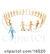 Blue Person Walking Away From A Circle Of Orange People Symbolizing Different Beliefs Quitting Or Being Fired Clipart Illustration Graphic
