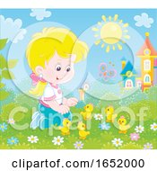 Poster, Art Print Of Little Girl Playing With Chicks