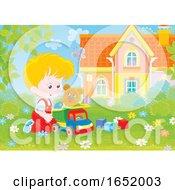 Little Boy Playing In A Yard
