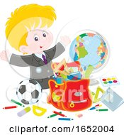 Poster, Art Print Of School Boy With Supplies