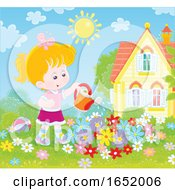 Little Girl Watering A Flower Garden
