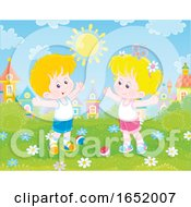 Little Boy And Girl Exercising In A Park