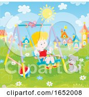 Poster, Art Print Of Little Boy Playing On A Swing